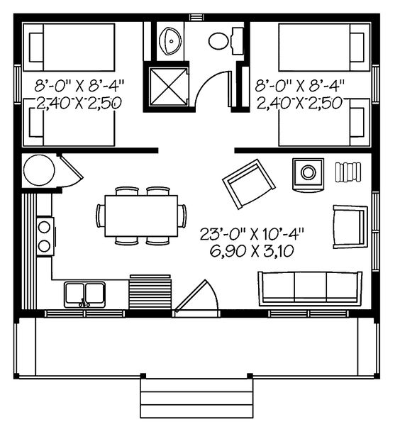 Home plans homepw08835 480 square feet 2 bedroom 1 Nice floor plans