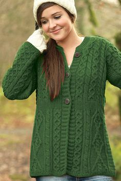 Carraig Donn Irish Aran Womens Wool Cable Knit A-Line Top Buttoned