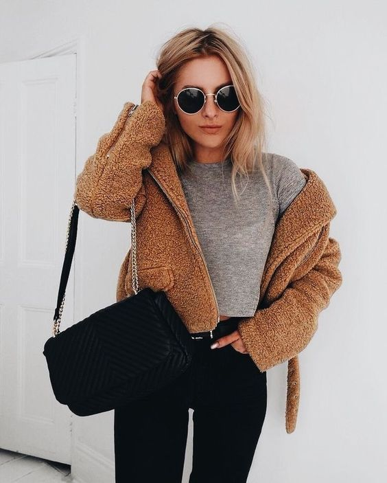 I love this cropped teddy jacket!