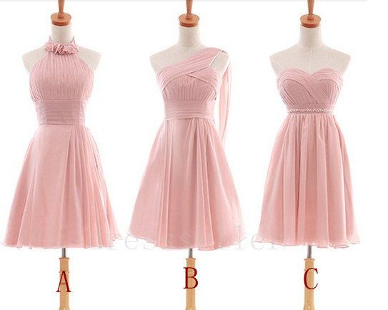 Short Pink Chiffon Bridesmaid Dress Simple Design Bridesmaid ...