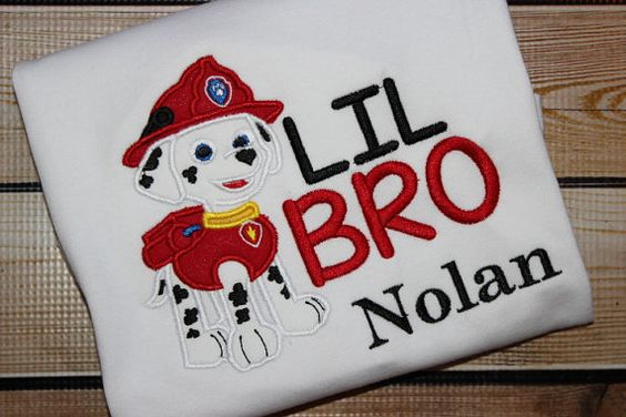 Personalized Little Brother Sibling Shirt Paw by PerryWinklesEmb