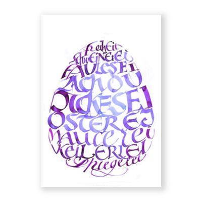 künstlerische Ostergrüße mit Kalligrafie: Ach Du dickes Ei