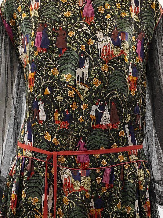 """The Metropolitan Museum of Art - """"Bois de Boulogne"""" Paul Poiret  (French, Paris 1879–1944 Paris)  Designer: Textile by Raoul Dufy (French, Le Havre 1877–1953 Forcalquier) Manufacturer: Textile by Bianchini-Férier (French, founded Lyons, 1888) Date: 1919 Culture: French Medium: a–c) silk. Detail"""