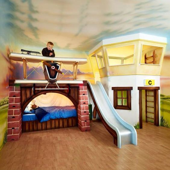 Boy S Room Airplane And Constellation Wall Map: Love This Airplane Bunk Bed And Flight Tower!