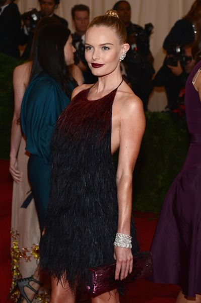 Perfection in a look - Kate Bosworth in a  burgundy and navy ostrich feather low cut-back Prada mini dress