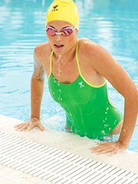 Beginner, intermediate, and advanced swimming workouts.