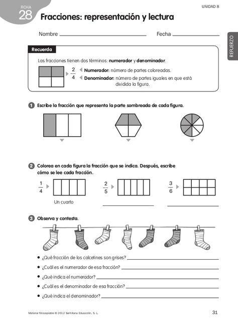 Refuerzo Matemáticas 4º De Primaria Matematicas Fracciones Ejercicios De Fracciones Actividades De Fracciones