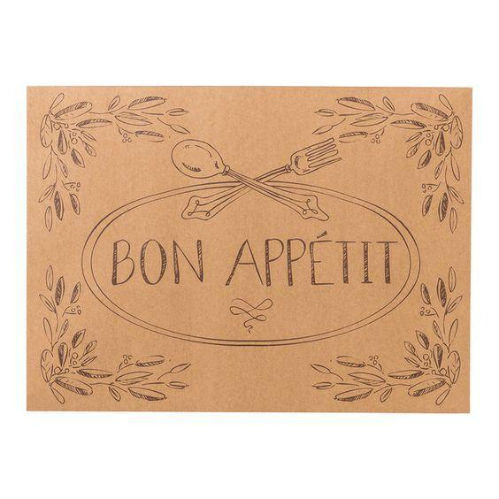 Juego de 25 manteles individuales de papel con mensaje e ilustraciones al estilo bistro francés.