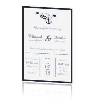 Typografische trouwkaart met anker en vogeltjes