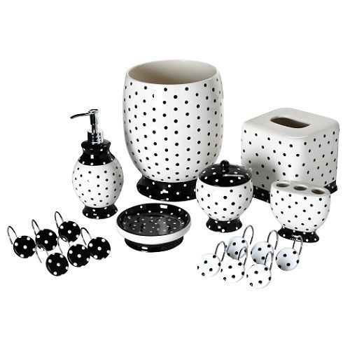 Details about black white polka dot bathroom accessory for Black bath accessories sets