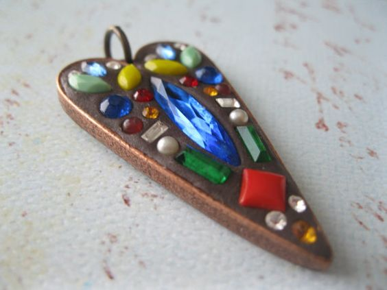 Boho Mosaic copper heart pendant with vintage by maxandlucie, $20.00