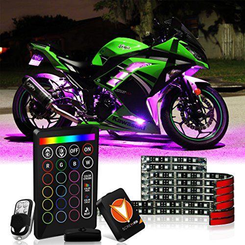 8 piece Motorcycle LED Lights Kit Strip//Multi-Color Accent//Glow LED Strip Lights//Motorcycle LED Flexible Lights Kit Strip with Remote Controller for Harley Honda Kawasaki Suzuki Ducati Polaris KTM BMW