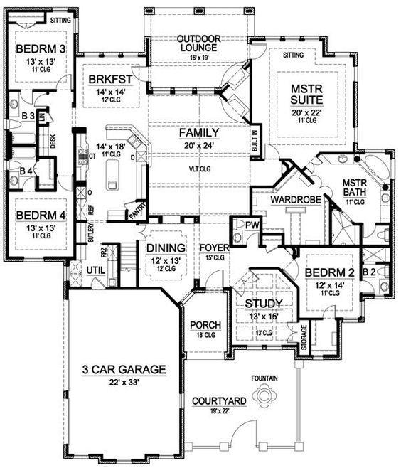 Plan 36226tx One Story Luxury With Bonus Room Above House Plans One Story Best House Plans New House Plans