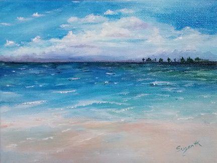 "Beach Study 6""x8"" Acrylic on Gallery Wrapped Canvas ©Suzan Hughes-Kennedy $25.00 + shipping 2016 Sep Challenge"