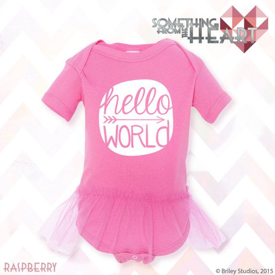 Hello World Arrow  - Baby Onesie - Infant Short & Long Sleeve Bodysuit - Coming Home Outfit - Baby Shower Gift - Announcement - Etsy - Tutu - by Briley Studios