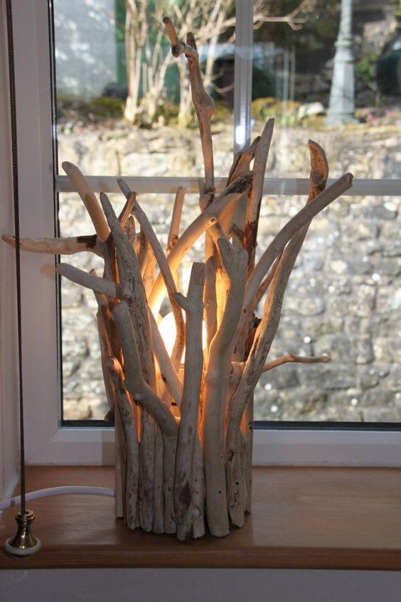 Bois flotté lampe 44 cm de haut x 30 cm par Coastalcraft sur Etsy:
