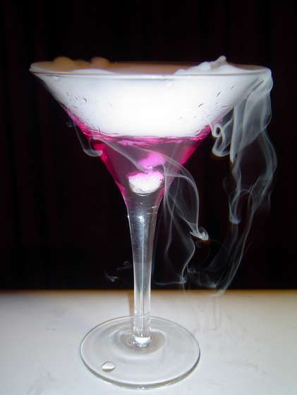 This drink smokes elegantly, changes from a calm blue to fuschia as it cools from room temperature to drinkably cold, and tastes like a dirty martini.