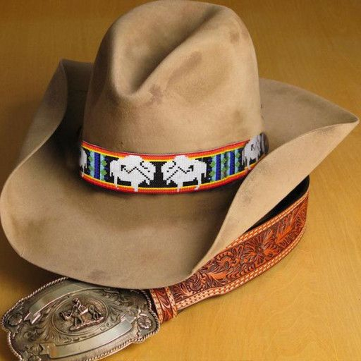 Buffalo Bison Native American Style Wide Hat Band Beaded Hatband Beaded Hat Native American Fashion Beaded Hat Bands
