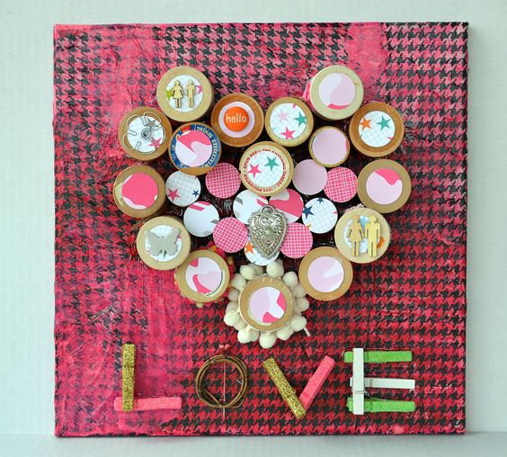 A canvas I made using sewing thread spools :)