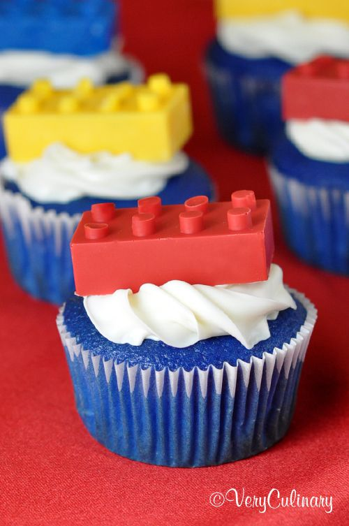 Lego Brick Cupcakes | blue cupcakes with candy melt molds of legos