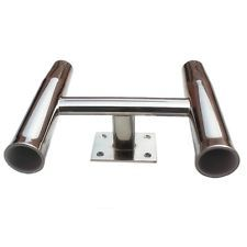 Boat Yacht Fishing Rod Holder Stainless Steel 2 Pipes