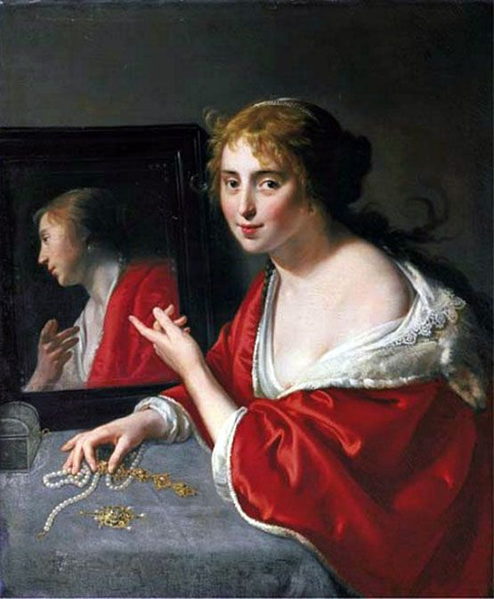 Paulus-Moreelse-Olanda-1571-1638-A-Girl-with-a-Mirror-an-Allegory-of-Profane-Love: