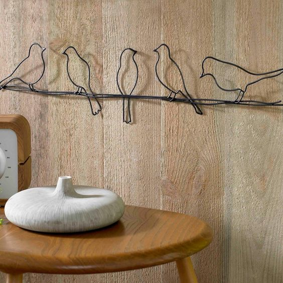 black birds on a wire metal wall art | Graham and Brown