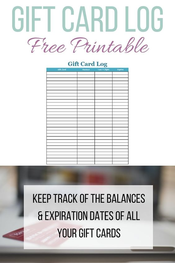 Gift Card Log Free Printable: Perfect for Tracking Gift Card ...