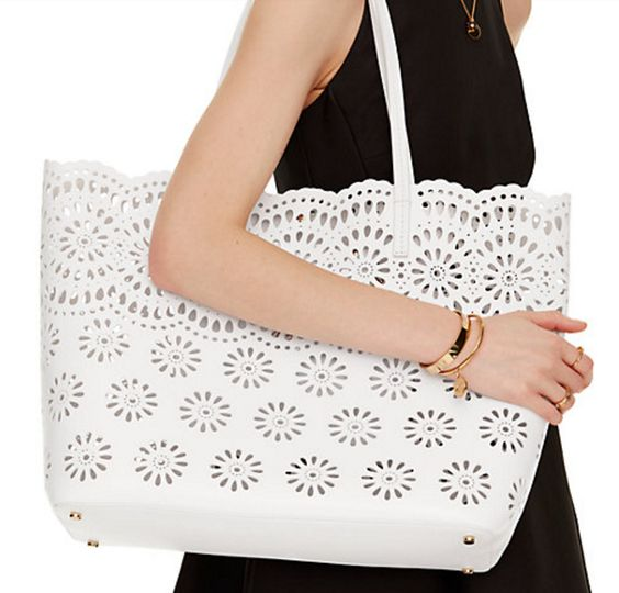 White Leather Daisy Eyelet Tote