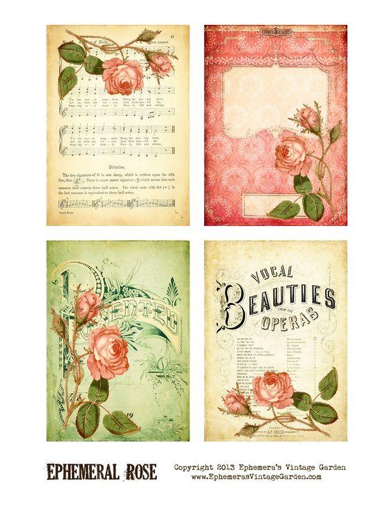 Ephemeras Vintage Garden: Printable Freebie - Ephemeral Rose Cards: