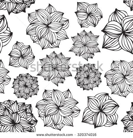 hand drawn seamless dahlias
