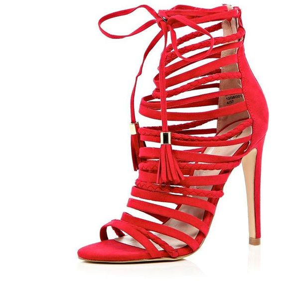 River Island Red strappy lace-up stiletto heels (87 BAM) ❤ liked on Polyvore featuring shoes, heels, sandals, high heels, sale, strap shoes, red strappy shoes, red stilettos, red high heel shoes and tassel shoes