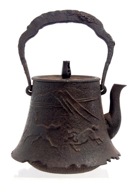 A Japanese Iron Tetsubin Teapot With Original Cover An Impressed