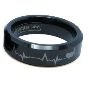 Matching Black Comfort Fit Tungsten Carbide Rings with Laser Forever Love Design 8mm (Size 6-14) His & 6mm (Size 4-10.5) Hers Set Aniversary/engagement/wedding Bands