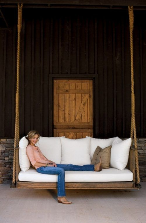 Beautiful farm house hanging porch swing bed! Rachel Halvorson designed this beautiful hanging swing bed for country musician Ronnie Dunn. Rachel Halvorson Inspired Decorating Tips