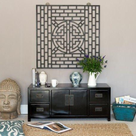 Black Wooden Sideboard | Black Media Unit | Orchid