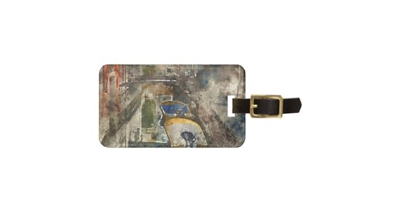 Canals of Venice - Digital Watercolor Luggage Tag travel travel tag bag tag luggage tag