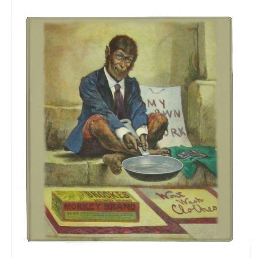 Binder - Vintage Office Decor  Vintage advertisement for Monkey Soap featuring a lovely monkey man holding a frying pan. The captio...