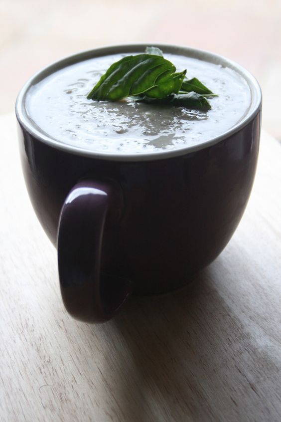 Garlic and Basil Mushroom Soup  #bLANk #Recipe