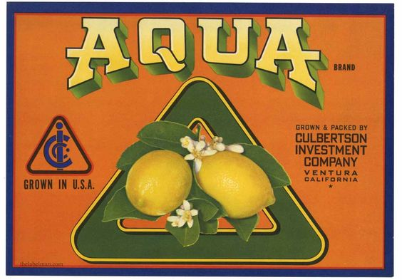 AQUA Vintage Ventura Lemon Crate Label