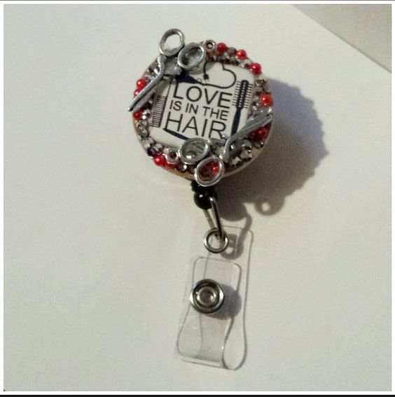Check out this item in my Etsy shop https://www.etsy.com/listing/210067318/badge-reel-love-is-in-the-hair