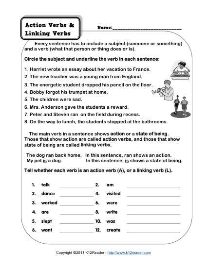 Action and linking verbs worksheet middle school