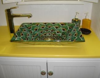 Green Peacock Mexican Talavera Ceramic Rectangular Vessel Bathroom Sink Great Designs