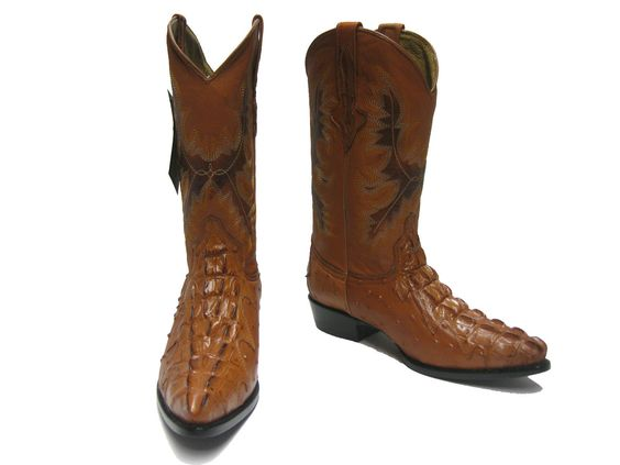 Details about Mens cognac brown crocodile ostrich western leather ...