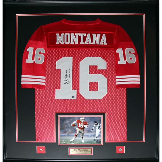 Midway Joe Montana San Francisco 49ers Signed Framed Jersey