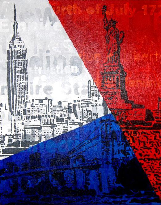 Dit schilderij is een compilatie van drie bekende bouwwerken uit New York. Het formaat is 40x50 cm en is nog te koop.