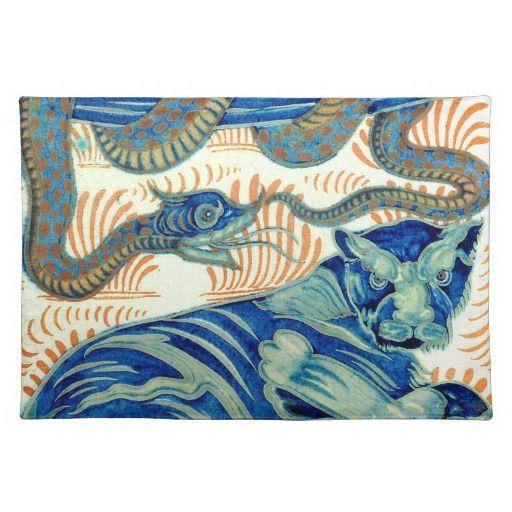 William De Morgan Tiger And The Snake Tableware