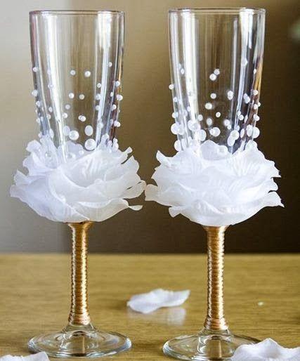 Cómo decorar unas copas para boda DIY