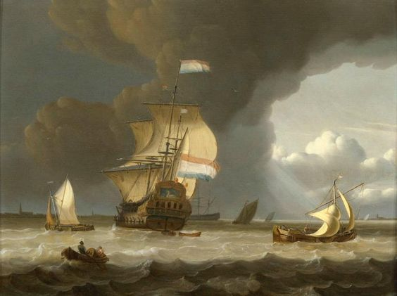 Ships at the mouth of the Schelde. By Jan Klaesz. Rietschoof, 1675 (National Maritime Museum, London, UK)