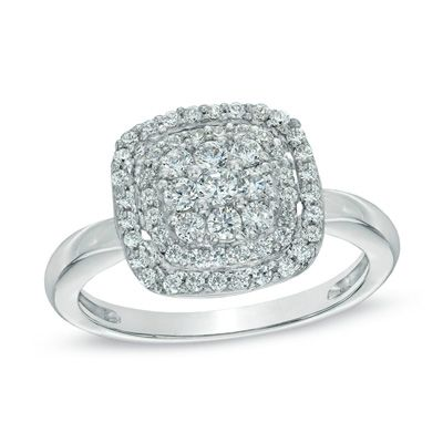 1/2 CT. T.W. Diamond Cushion Cluster Frame Ring in 10K White Gold - View All Rings - Zales